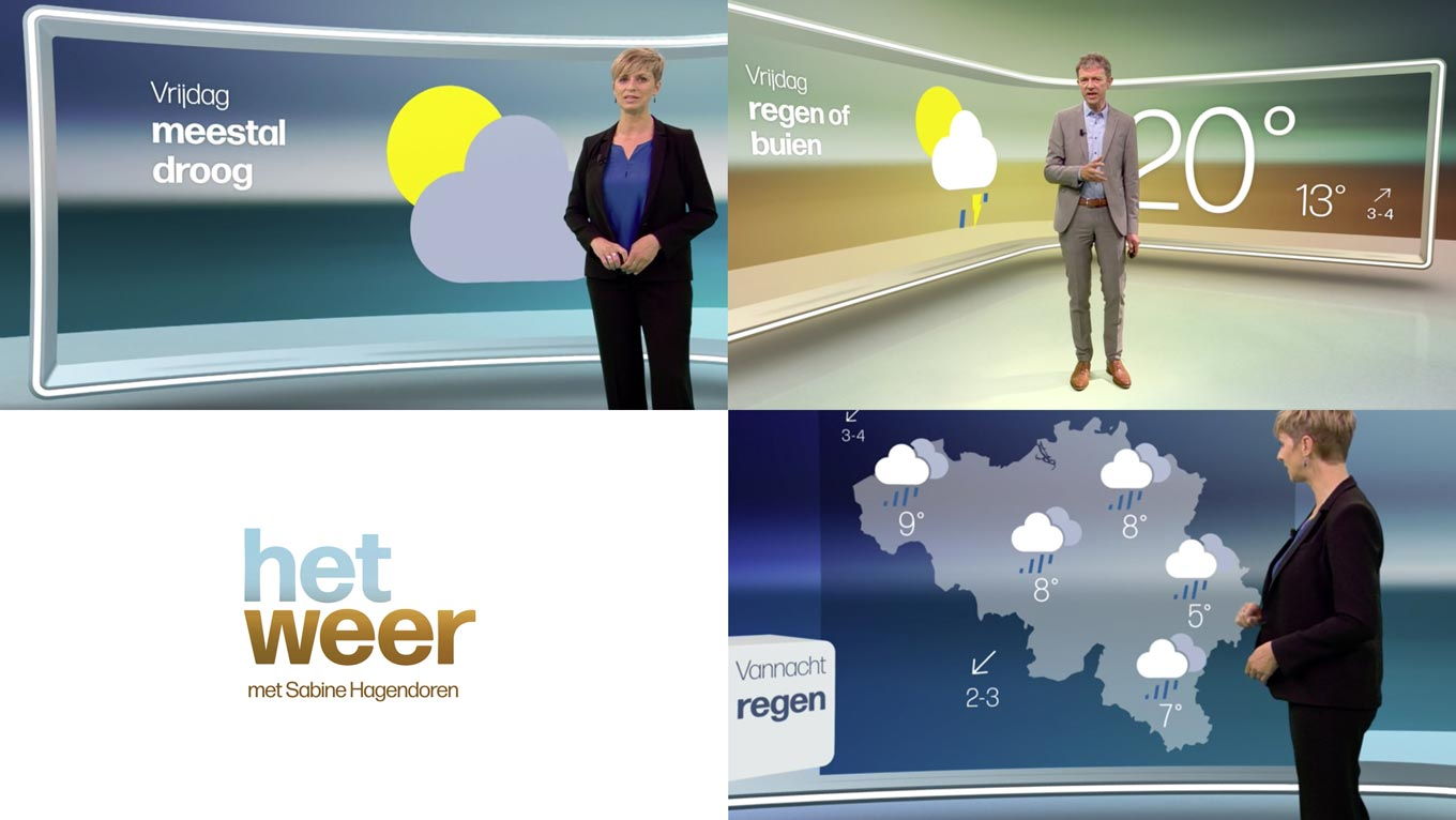 Forma DJR in use in the on-screen identity for the VRT weather report.